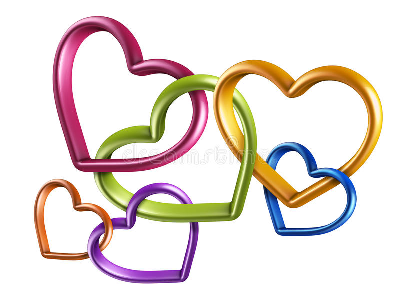 3d Colorful Hearts Linked Together Into Chain Stock Illustration