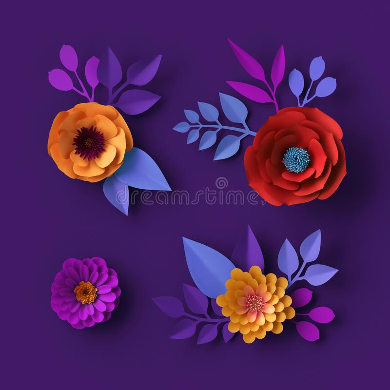 3d colorful neon paper flowers wallpaper, botanical background, red poppy, pink dahlia, spring summer clip art, floral design stock photos