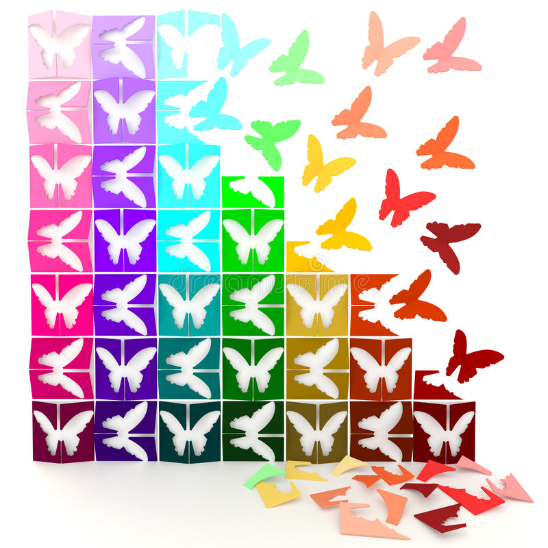 3D colorful paper butterflies turn to life. In jigsaw style. Can be use for decoration royalty free illustration