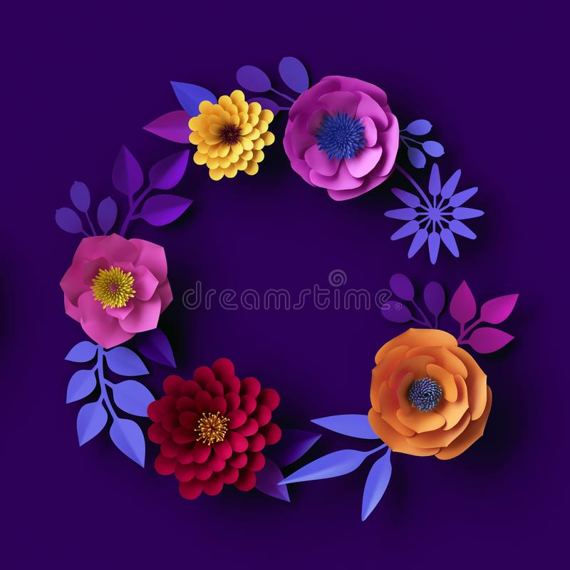 3d colorful paper flowers, neon botanical background, round floral wreath, blank frame, boho greeting card template royalty free stock photos