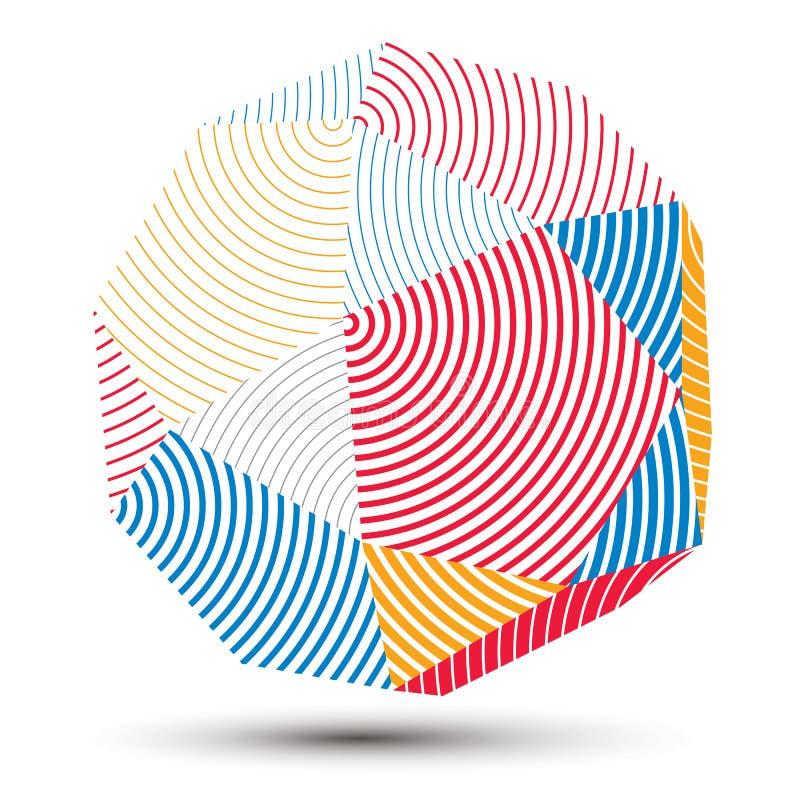 3D colorido abstrato complicado listrou a forma, vetor o digital ilustração royalty free