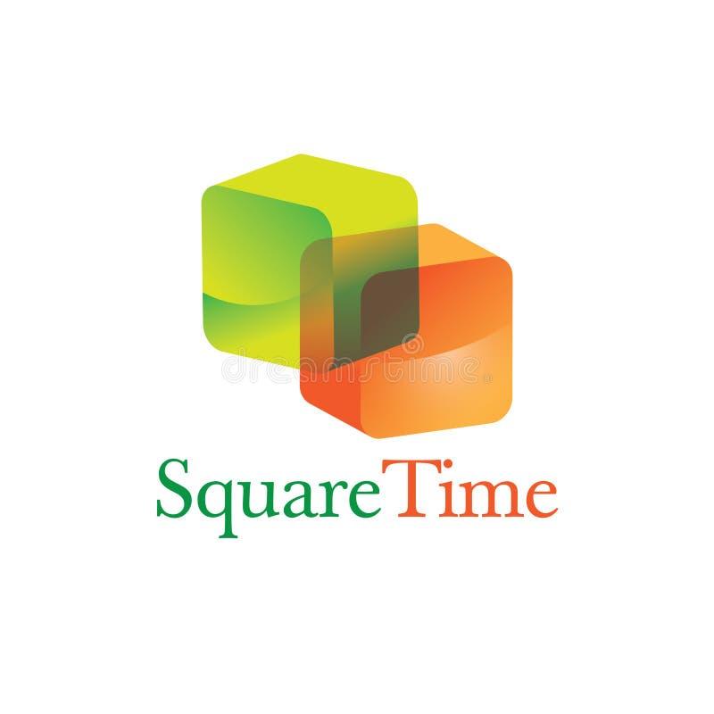 3D colorido esquadra o ícone no formato que coloridos translúcidos shinny retangular ilustração stock