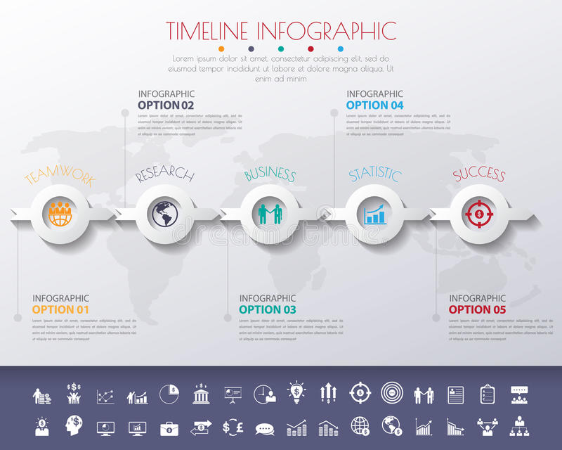 3D Colour StepDesign flat long shadow clean number timeline temp royalty free illustration