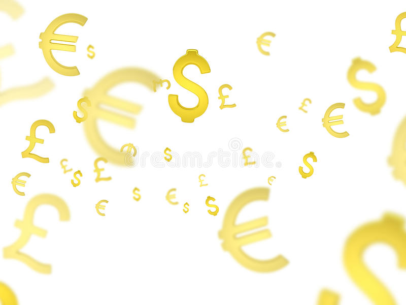 3d coloured waluty wysokiego ilustracyjnego wizerunku wielo- postanowienia symbole zdjęcia stock