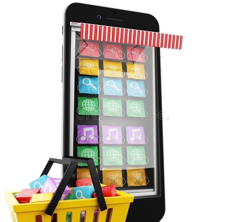 3d comércio eletrônico, Smartphone com app móvel ilustração do vetor