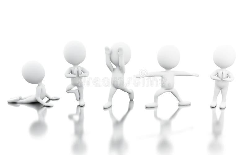 3d com os povos que fazem o exercício da ioga ilustração royalty free