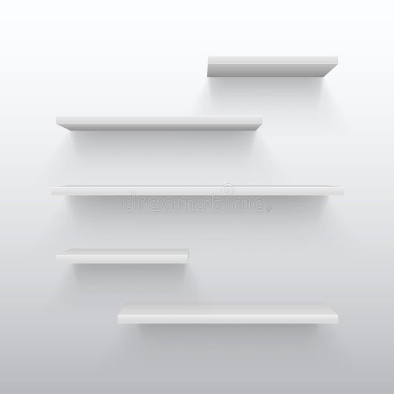 3d comercial blanco vacío deja de lado con la sombra en la pared Estante en blanco para el ejemplo interior casero del vector ilustración del vector