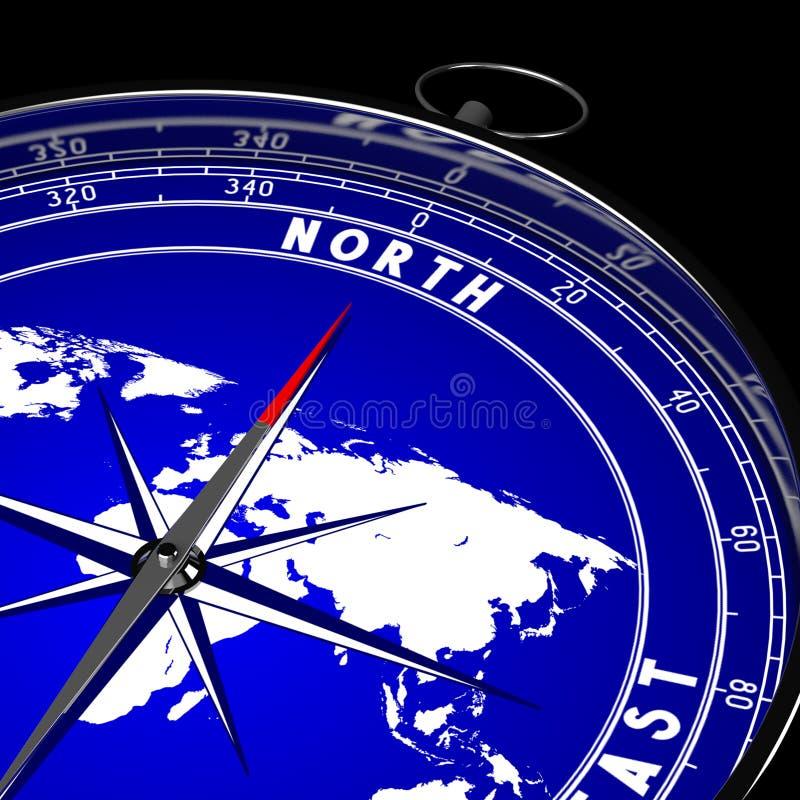 3D compasso, mapa do mundo ilustração royalty free