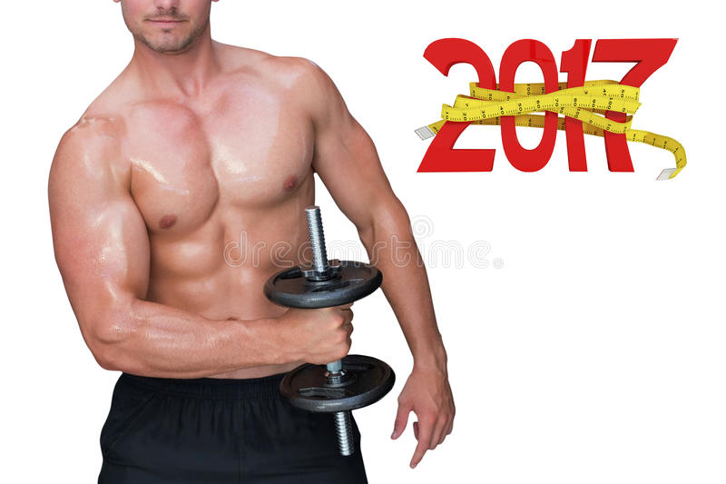 3D Composite image of bodybuilder lifting dumbbell stock image