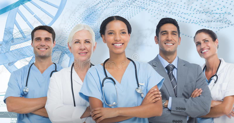 3D Composite image of confident medical team looking away royalty free stock photo