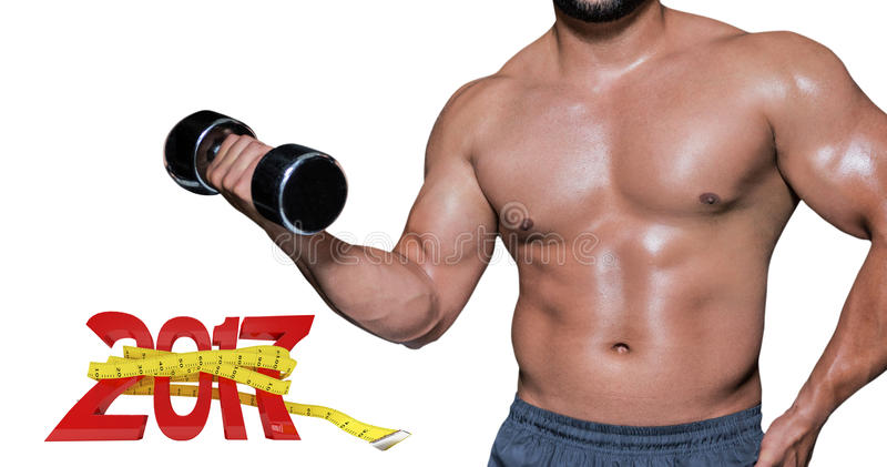 3D Composite image of mid section of a bodybuilder with dumbbell stock images