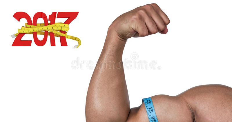 3D Composite image of muscular man flexing for camera stock photography