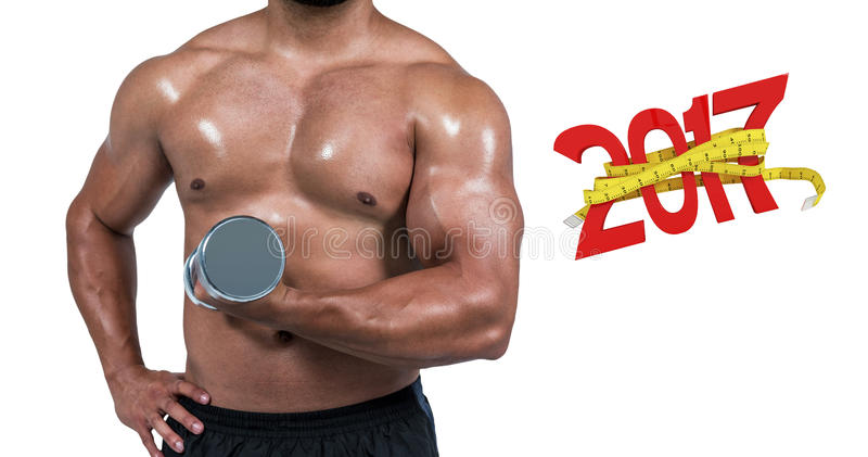 3D Composite image of muscular man lifting heavy dumbbell stock images