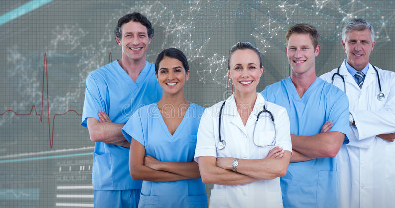 3D Composite image of portrait of confident doctors and surgeons royalty free stock images