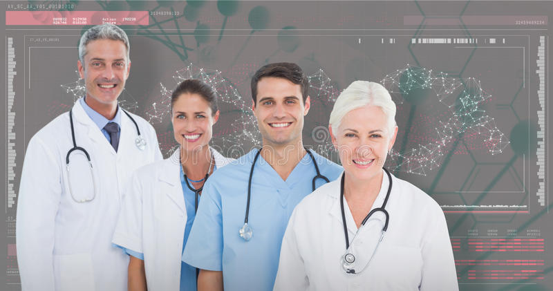 3D Composite image of portrait of confident medical team stock photo