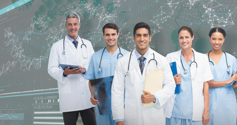 3D Composite image of portrait of male doctor with medical team stock photos