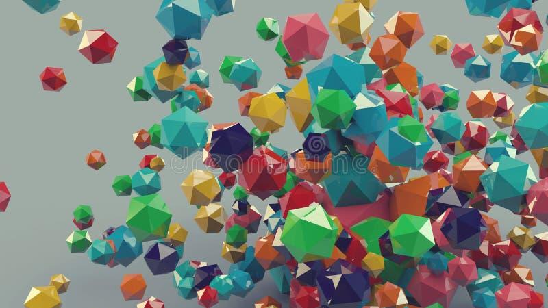 3d composition platonique colorée abstraite, fond illustration de vecteur
