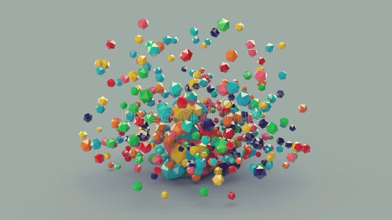 3d composition platonique colorée abstraite, fond illustration stock