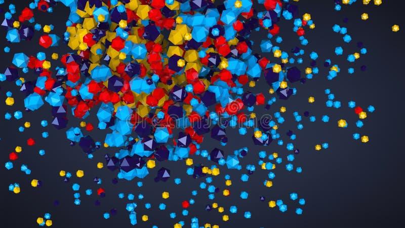 3D composition platonique colorée abstraite, fond, rendant illustration libre de droits