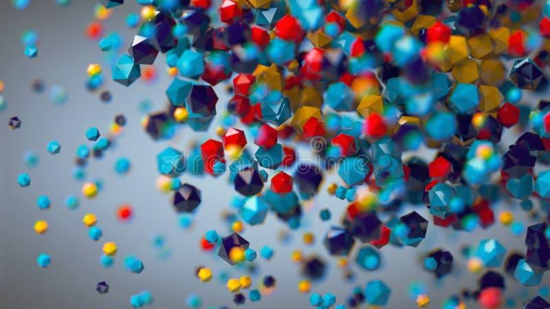 3D composition platonique colorée abstraite, fond, rendant illustration stock