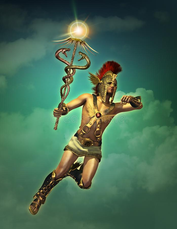 Hermes the messenger of the Gods by day, 3d CG royalty free illustration