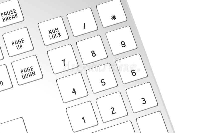 3D computer keyboard - numbers royalty free stock images