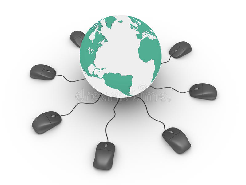Download Computer Mice Connected To Earth Stock Illustration - Illustration: 29877555