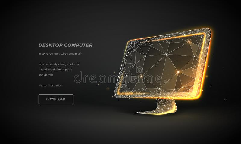 3d computer monitor abstract for concept design. Low poly design 3d isometric. Plexus particle. Vector illustration isolated. stock illustration