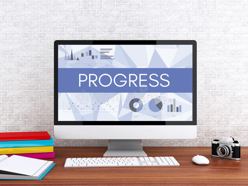 3d Computer with word PROGRESS. 3D illustration. Modern workspace and computer with word PROGRESS. Technology and business concept vector illustration