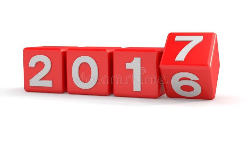 3d - conceito 2017 - cubos do ano novo - vermelho ilustração royalty free