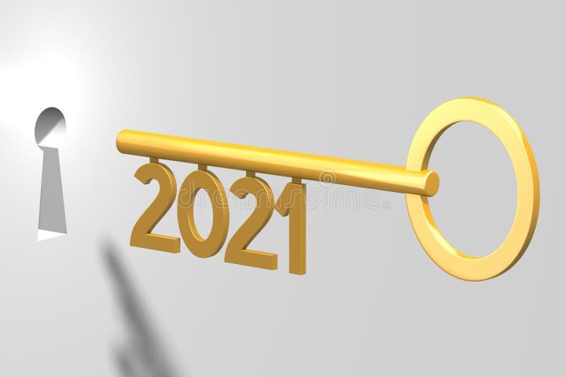 3D concept clé - 2021 illustration stock