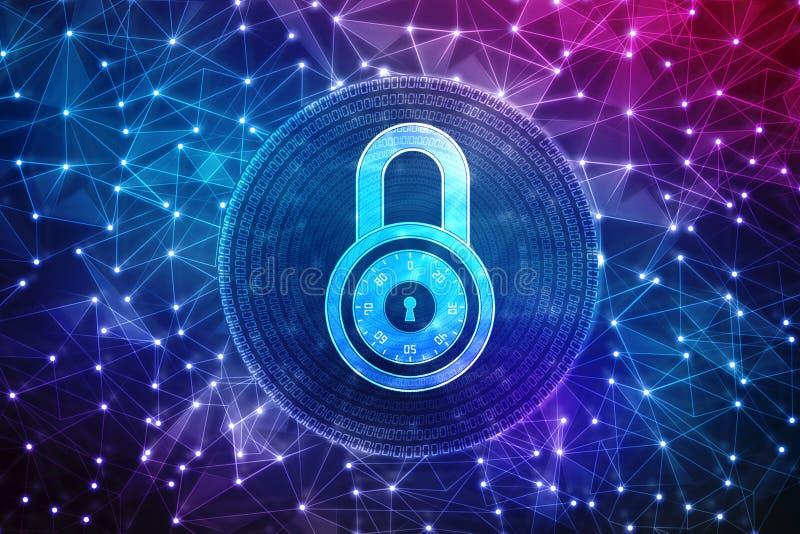 2d concept de sécurité d'illustration : Cadenas fermé sur le fond numérique, fond de sécurité d'Internet illustration de vecteur