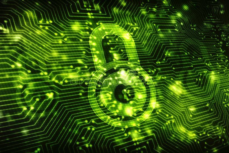 2d concept de sécurité d'illustration : Cadenas fermé sur le fond numérique, fond de sécurité d'Internet illustration libre de droits