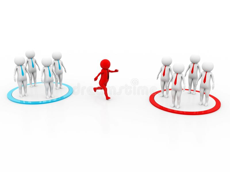 3D concept depicting changing teams, great for either business or general ideas stock illustration