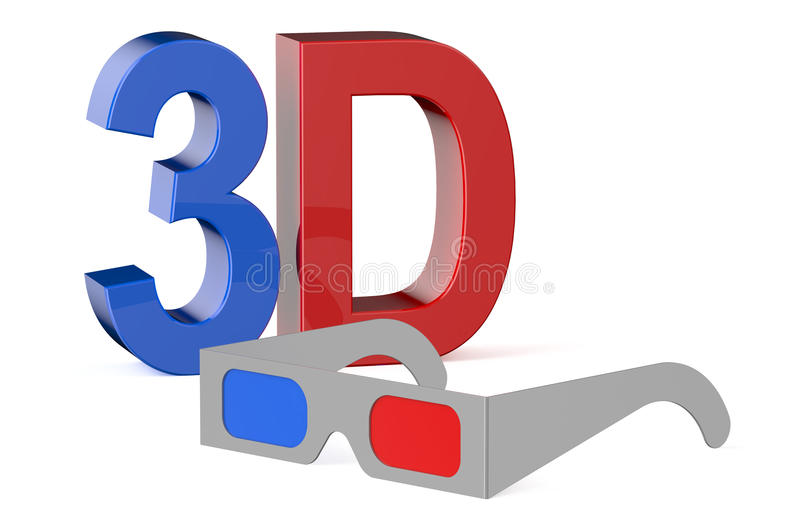 3D concept with glasses stock illustration