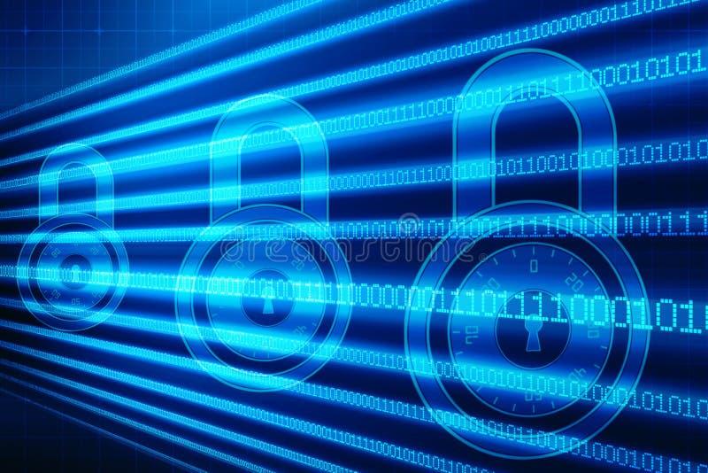 2d concetto di sicurezza dell'illustrazione: Lucchetto chiuso su fondo digitale, fondo di sicurezza di Internet illustrazione vettoriale