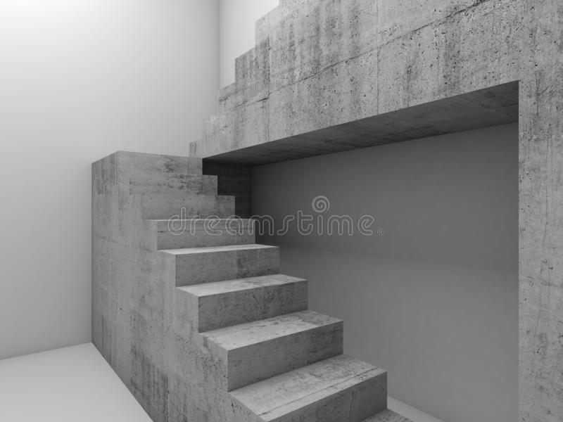 3d Concrete stairs in empty white room stock illustration