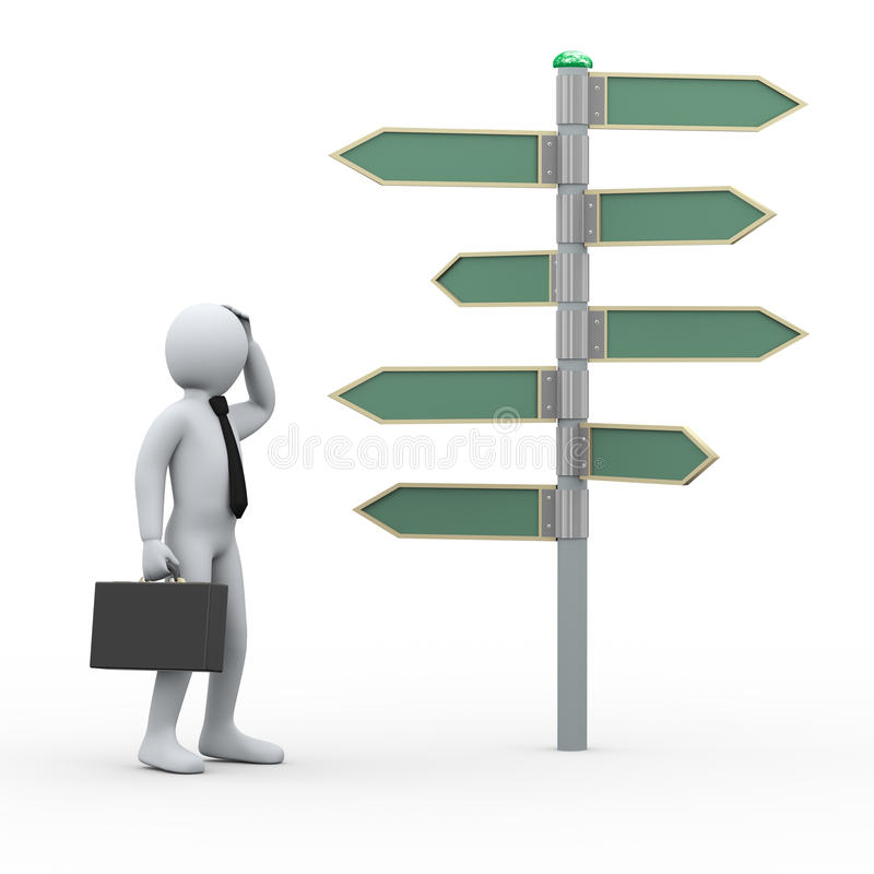 3d confuse man in front of roadsign stock illustration
