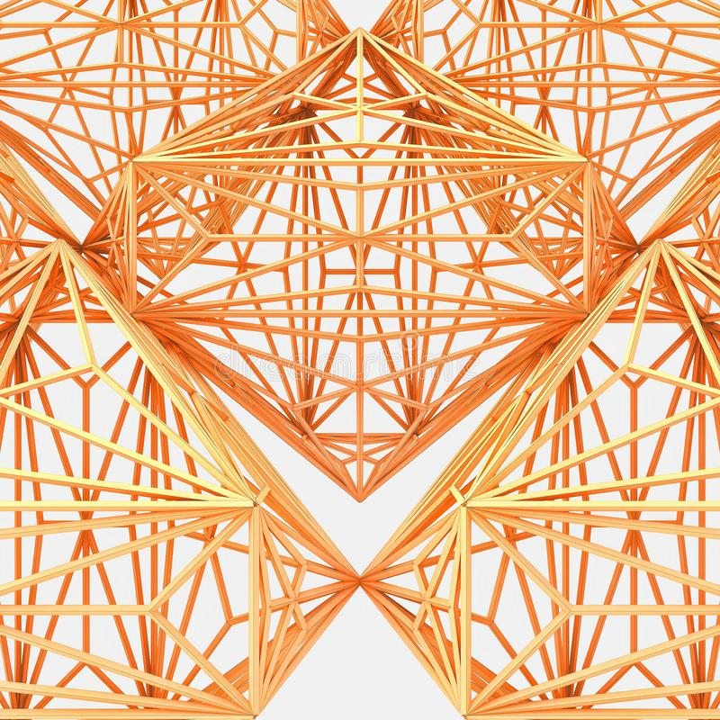 3d Connected Octahedron Evolving Loop. Isoalted On White vector illustration