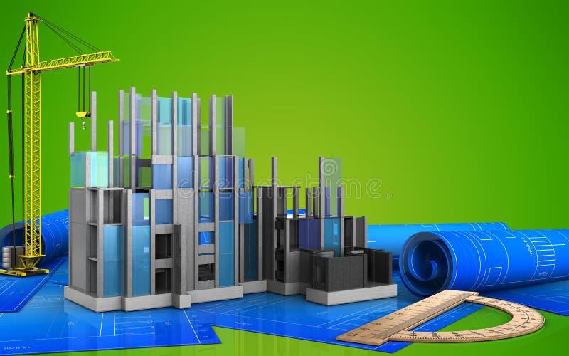 3d of construction progress stock illustration