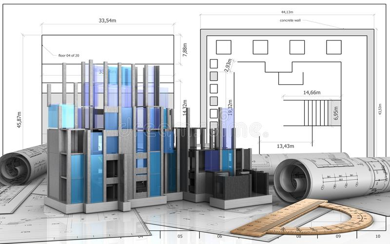 3d of construction progress royalty free illustration