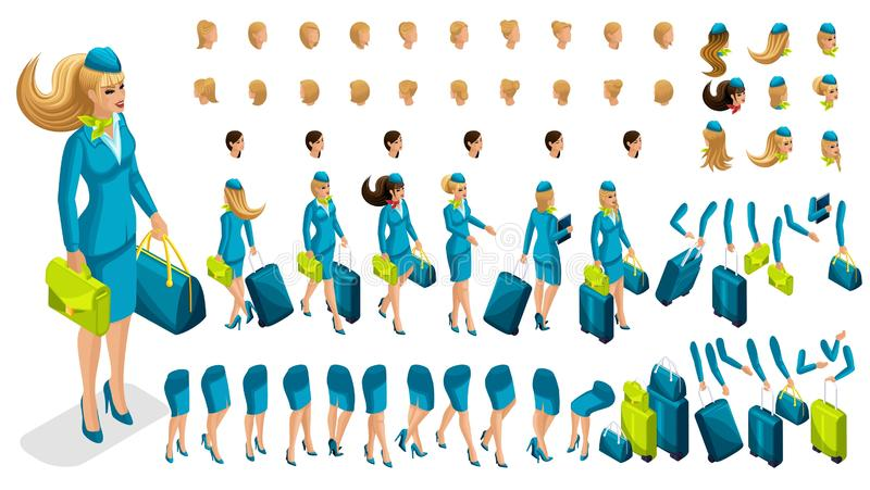 3D constructor stewardess. Create your character vector illustration