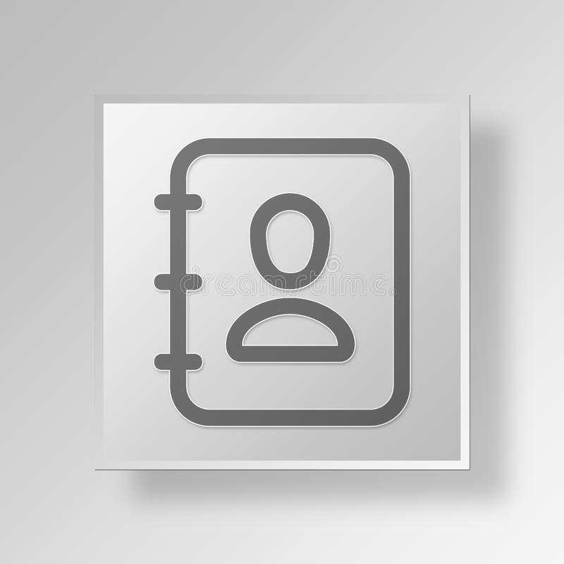 3D Contacts book icon Business Concept vector illustration