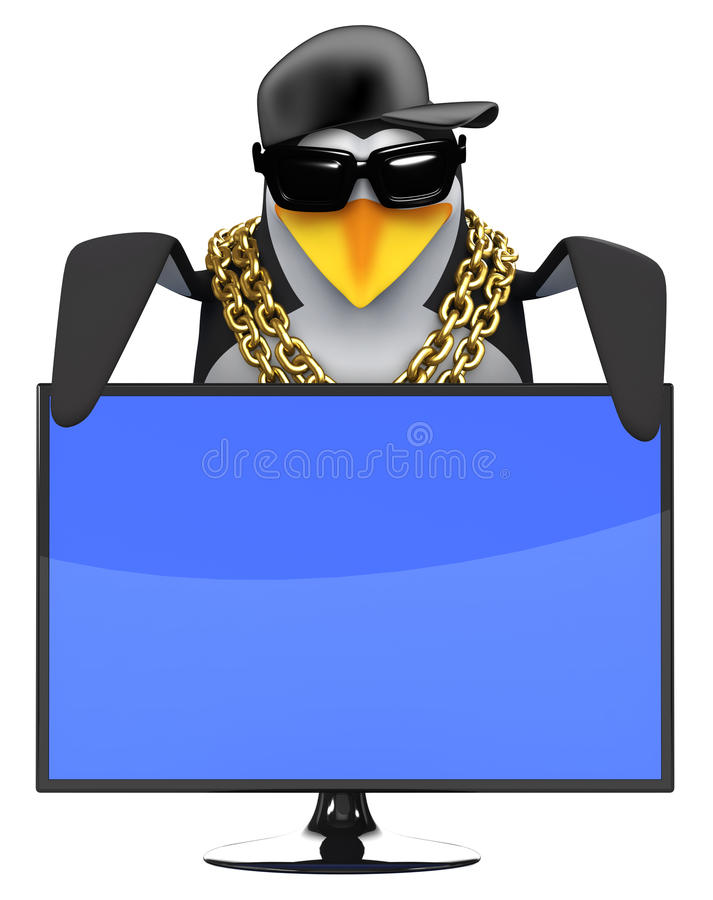 3d Cool penguin looks over a tv screen stock illustration