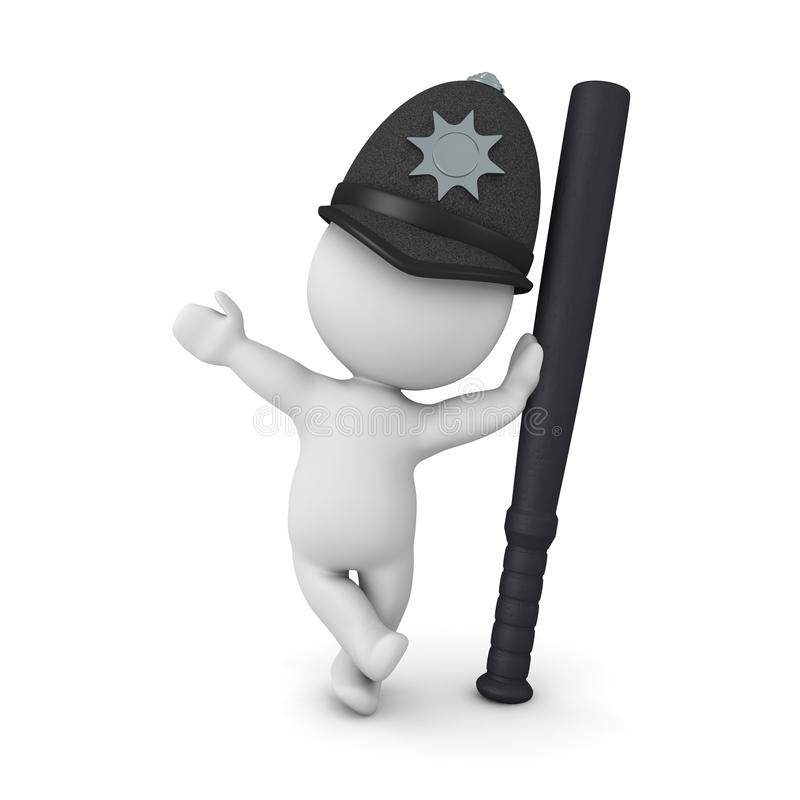 3D Cop leaning on police baton stock illustration