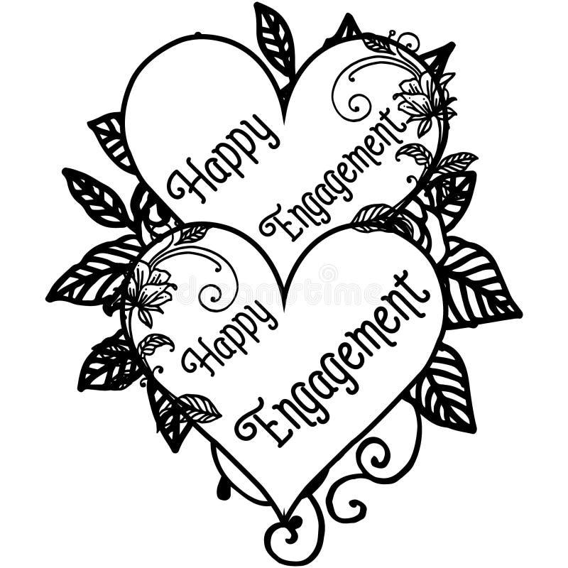 D?coration d'illustration de vecteur d'engagement heureux avec le contexte sur un cadre de fleur blanche illustration stock