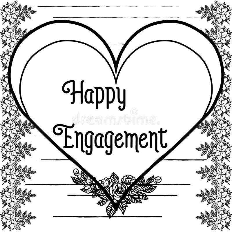D?coration d'illustration de vecteur d'engagement heureux avec le contexte sur un cadre de fleur blanche illustration de vecteur