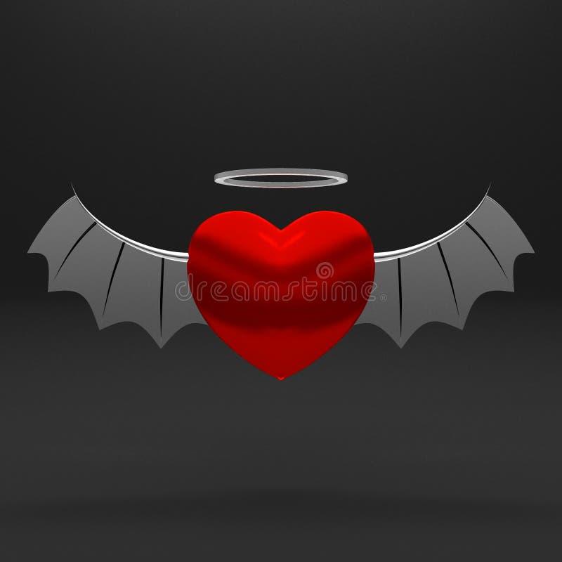 3D corazón con las alas - concepto del ángel libre illustration