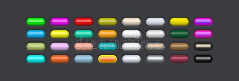 光泽网页元素 彩色椭圆按钮,用于设计 3d玻璃菜单图标 矢量图 库存例证