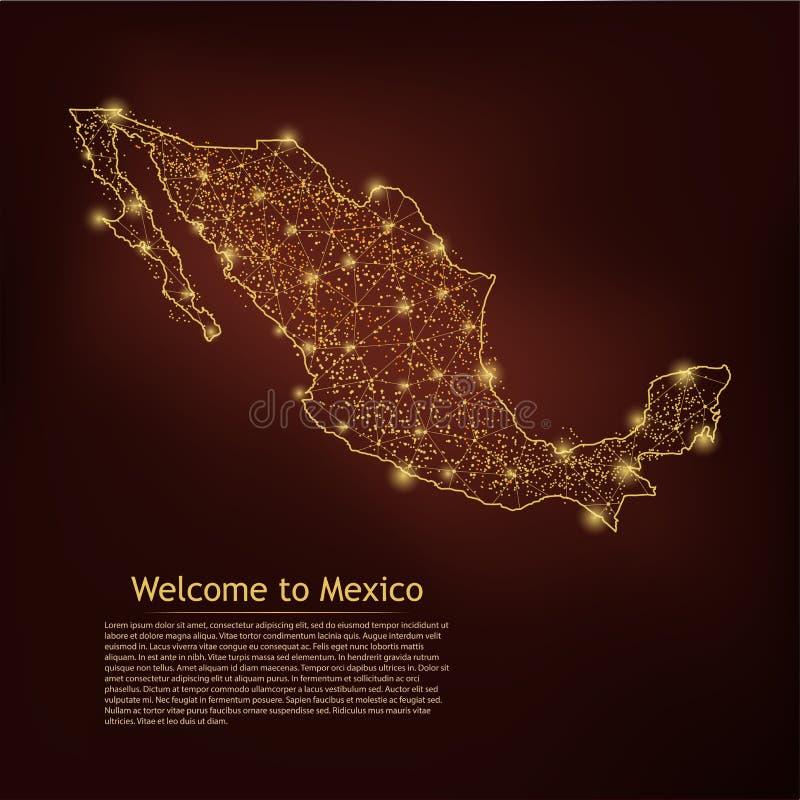 墨西哥地图 在暗几何背景上提取纹理线和点尺度 线架三维网格多边形网线设计 皇族释放例证